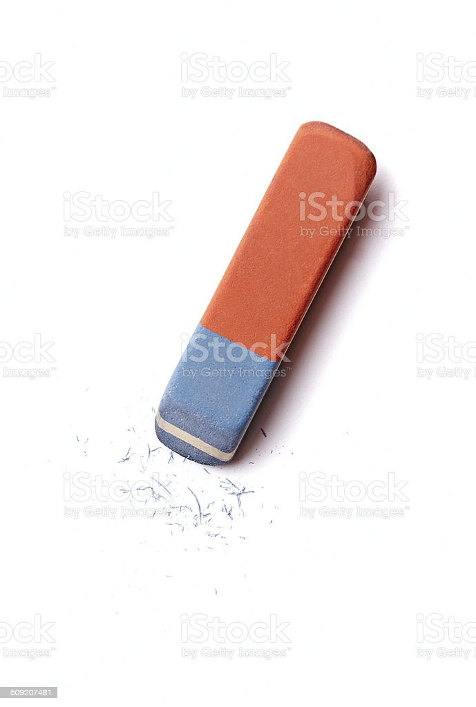 Eraser or rubber with rubber residue on white stock photo