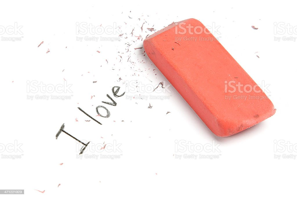 An eraser removes the word \'you\' from the phrase, \'I love you!\'