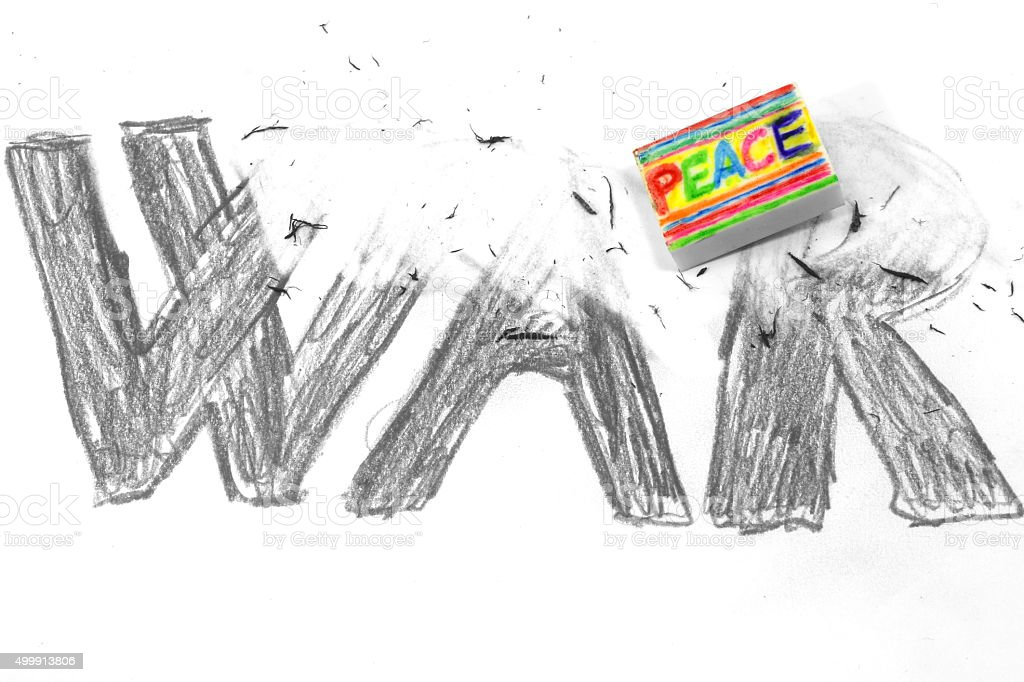 Eraser with flag PEACE deletes the black written WAR stock photo