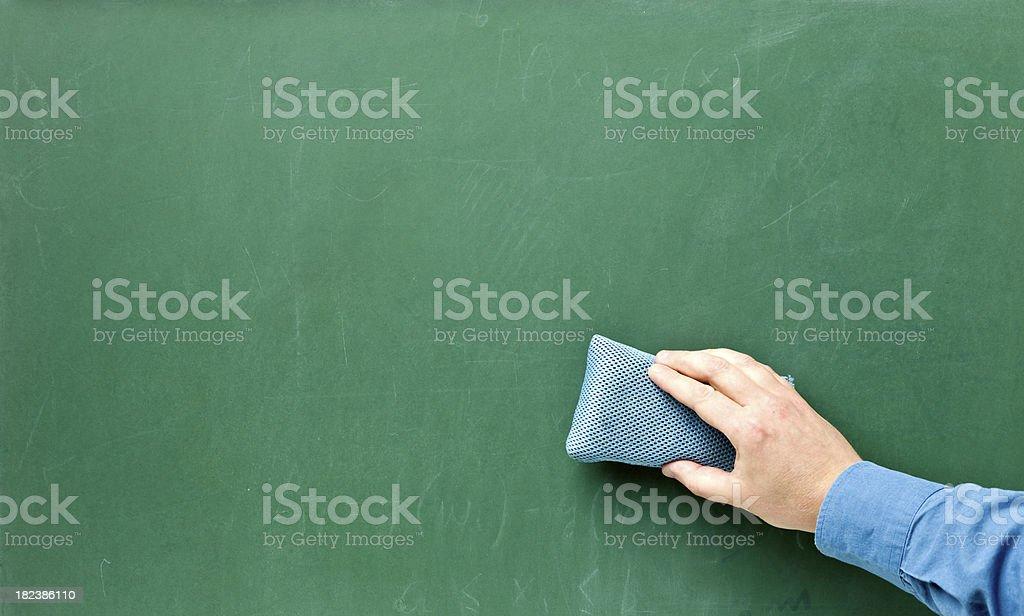 Erasing a chalkboard royalty-free stock photo