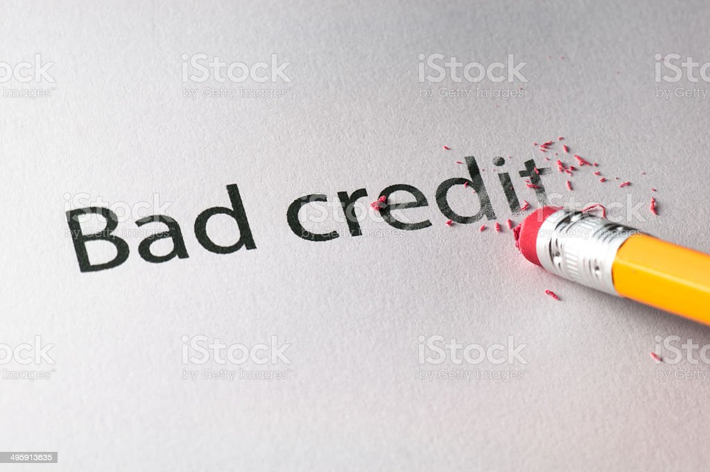 Erasing Bad Credit stock photo