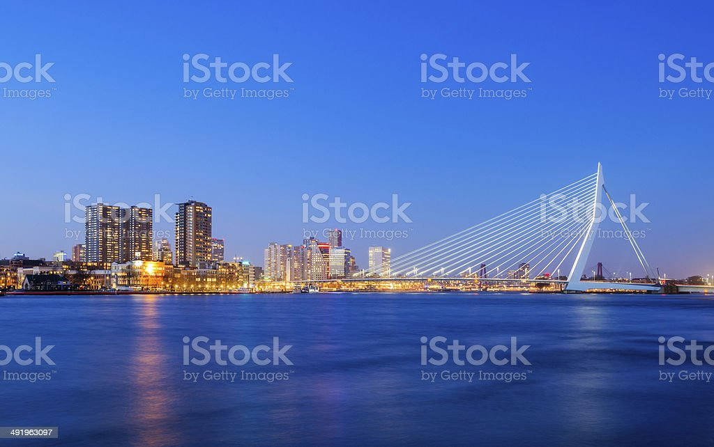 Erasmus Bridge at Twilight, Rotterdam, The Netherlands stock photo