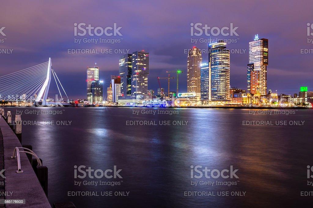 Erasmus bridge by night stock photo
