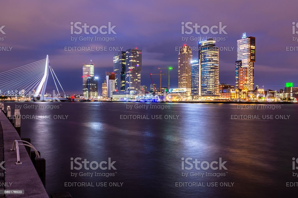 Erasmus bridge by night stock photo