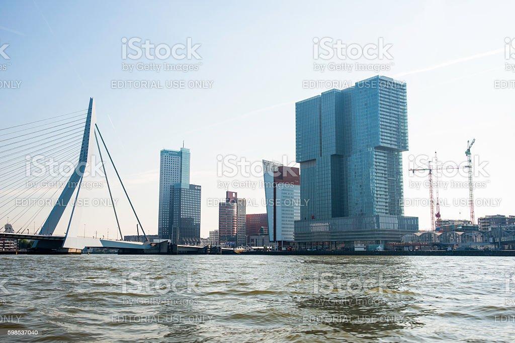 Erasmusbridge in the port of Rotterdam city in Holland stock photo