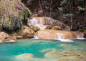 Erawan forest waterfall at National Park, level 7 Kanchanaburi, Thailand