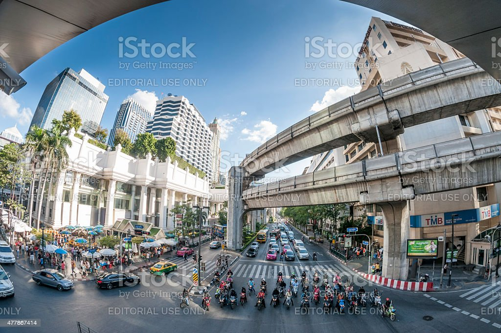Erawan (Thao Mahaprom) Shrine At Ratchaprasong Intersection In Bangkok, Thailand stock photo