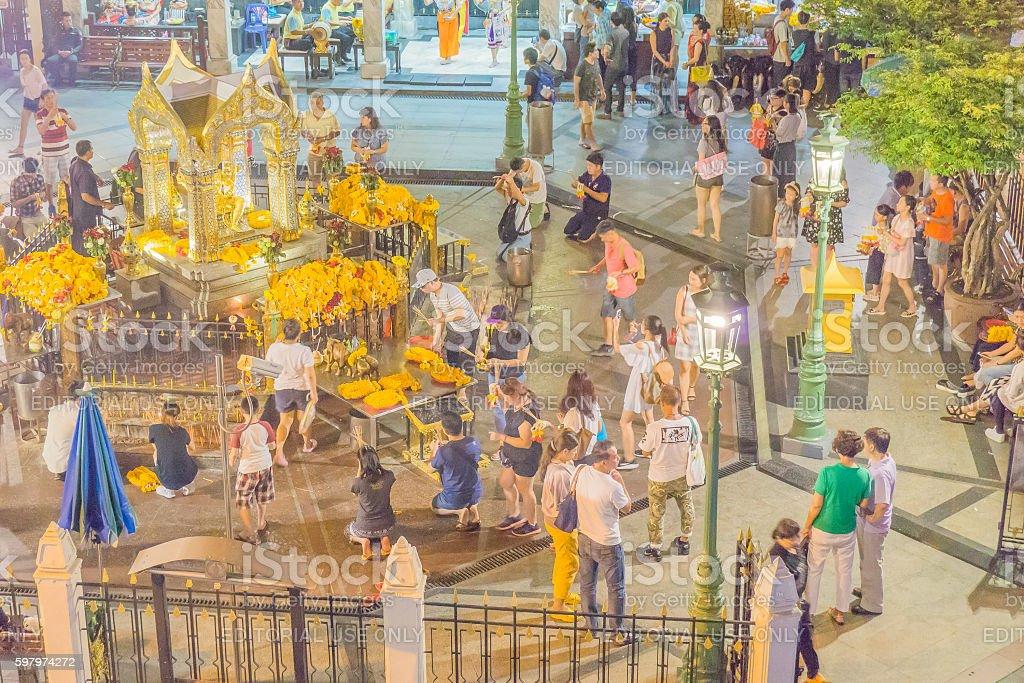 Erawan Shrine at Ratchaprasong Intersection stock photo