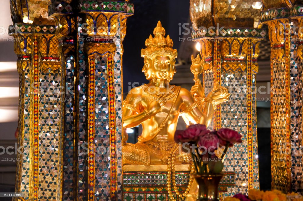 Erawan Shrine, Famous Landmark in Bangkok, Thailand stock photo