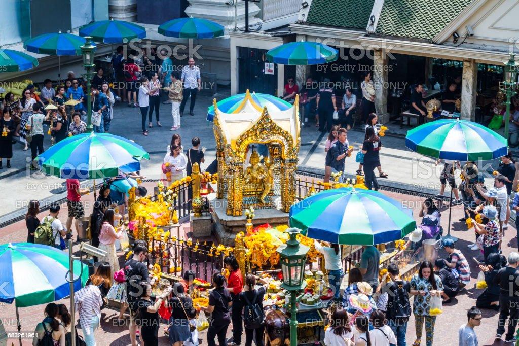Erawan shrine stock photo