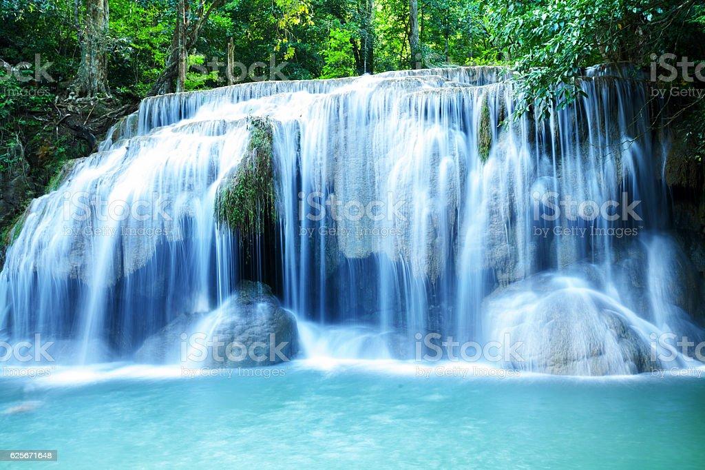 Erawan water falls in Kanchanaburi stock photo