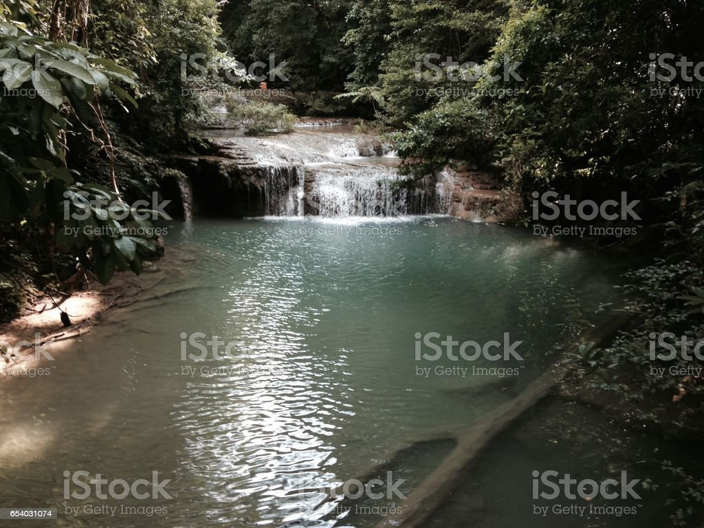 Erawan waterfall , copy space stock photo