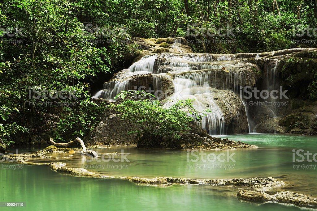 Erawan Waterfall Deep forest royalty-free stock photo