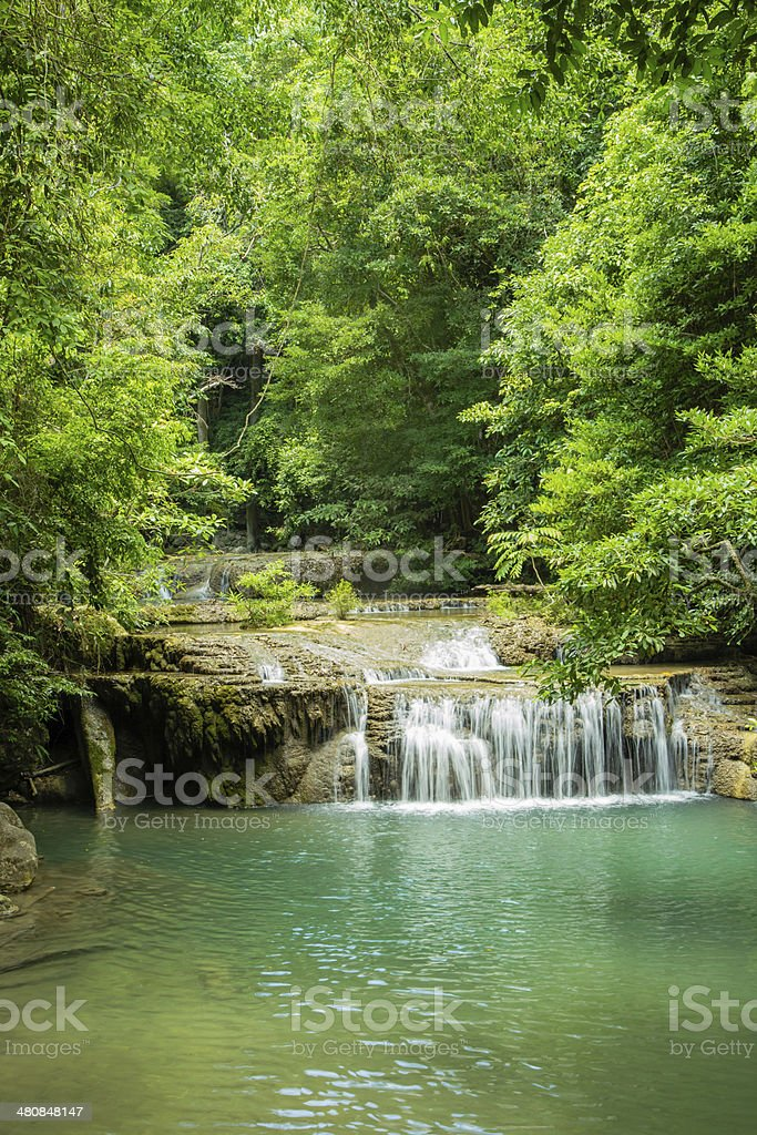 Erawan waterfall in deep forest royalty-free stock photo