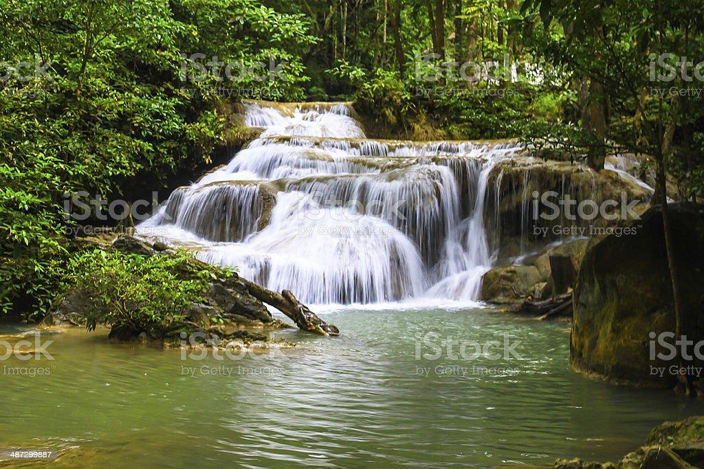 Erawan waterfall in Kanchaburi, Thailand royalty-free stock photo