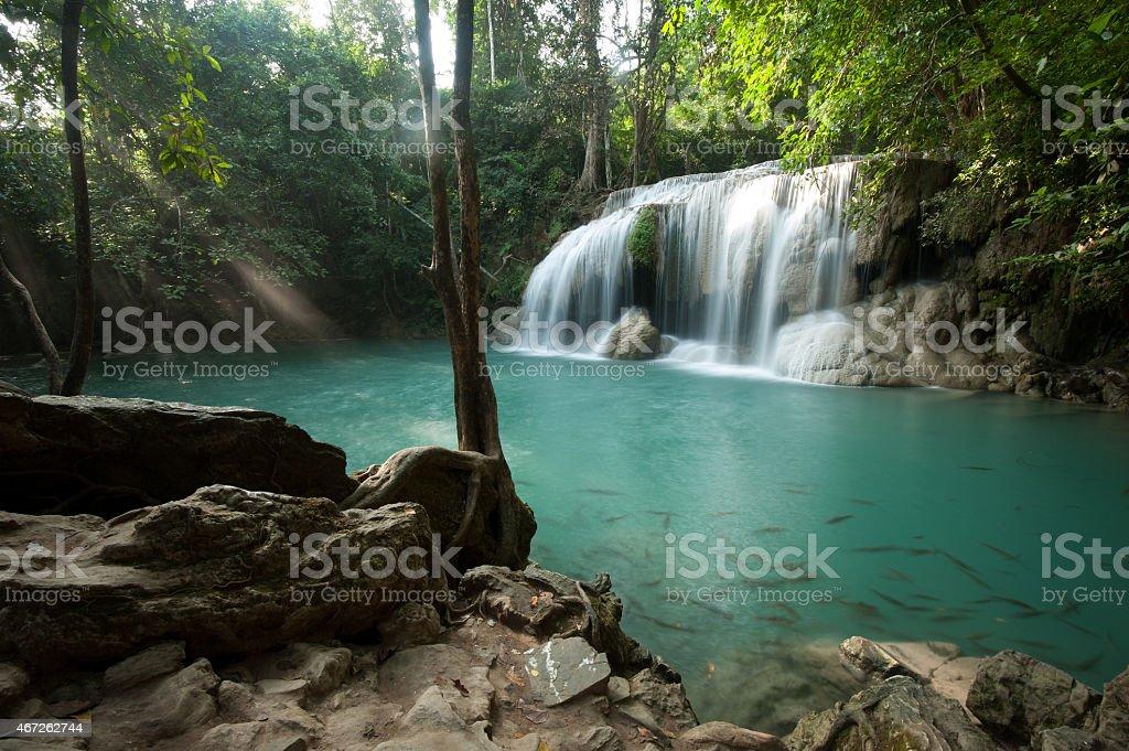 Erawan cascade à Kanchanaburi, Thaïlande photo libre de droits