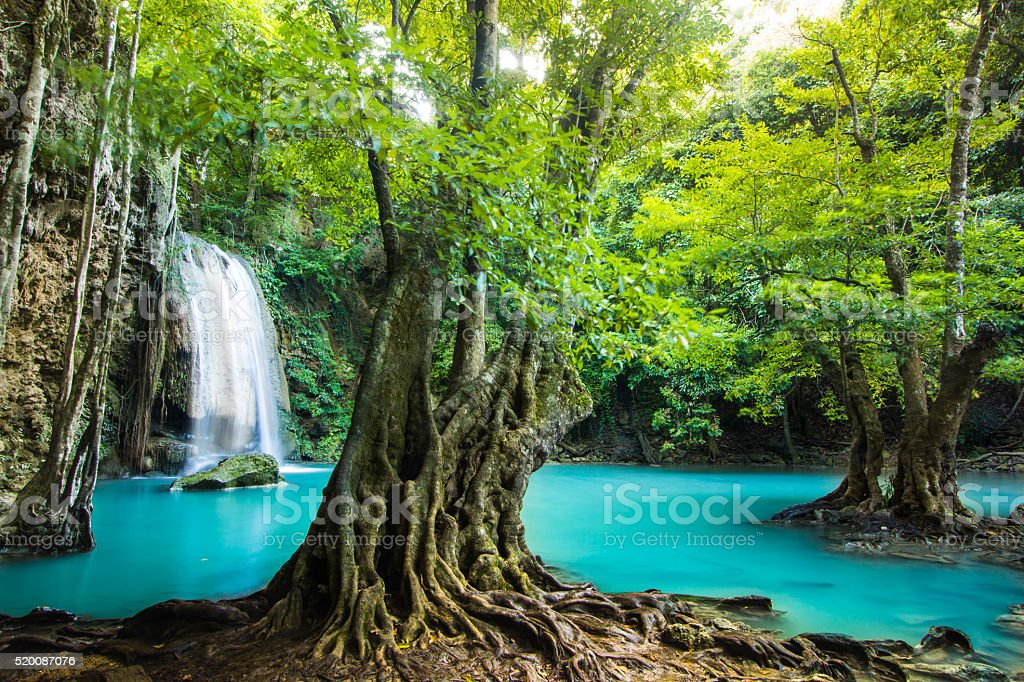 Erawan waterfall in Kanchanaburi, Thailand stock photo