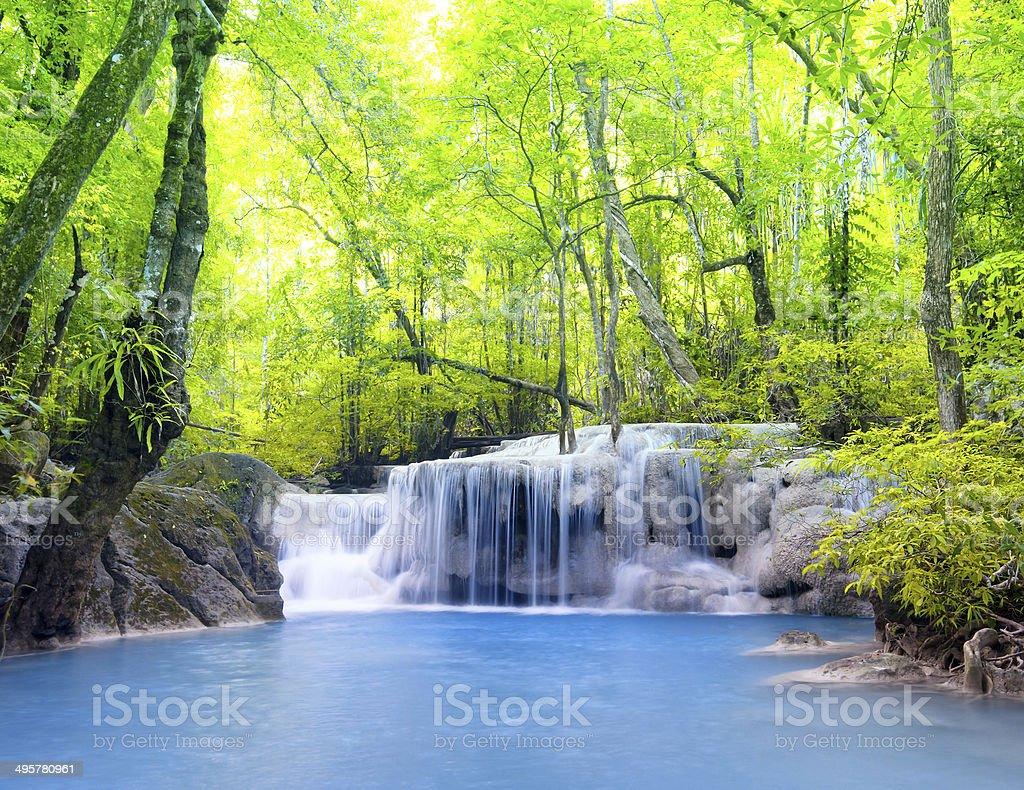 Erawan waterfall in Thailand. Beautiful nature background royalty-free stock photo