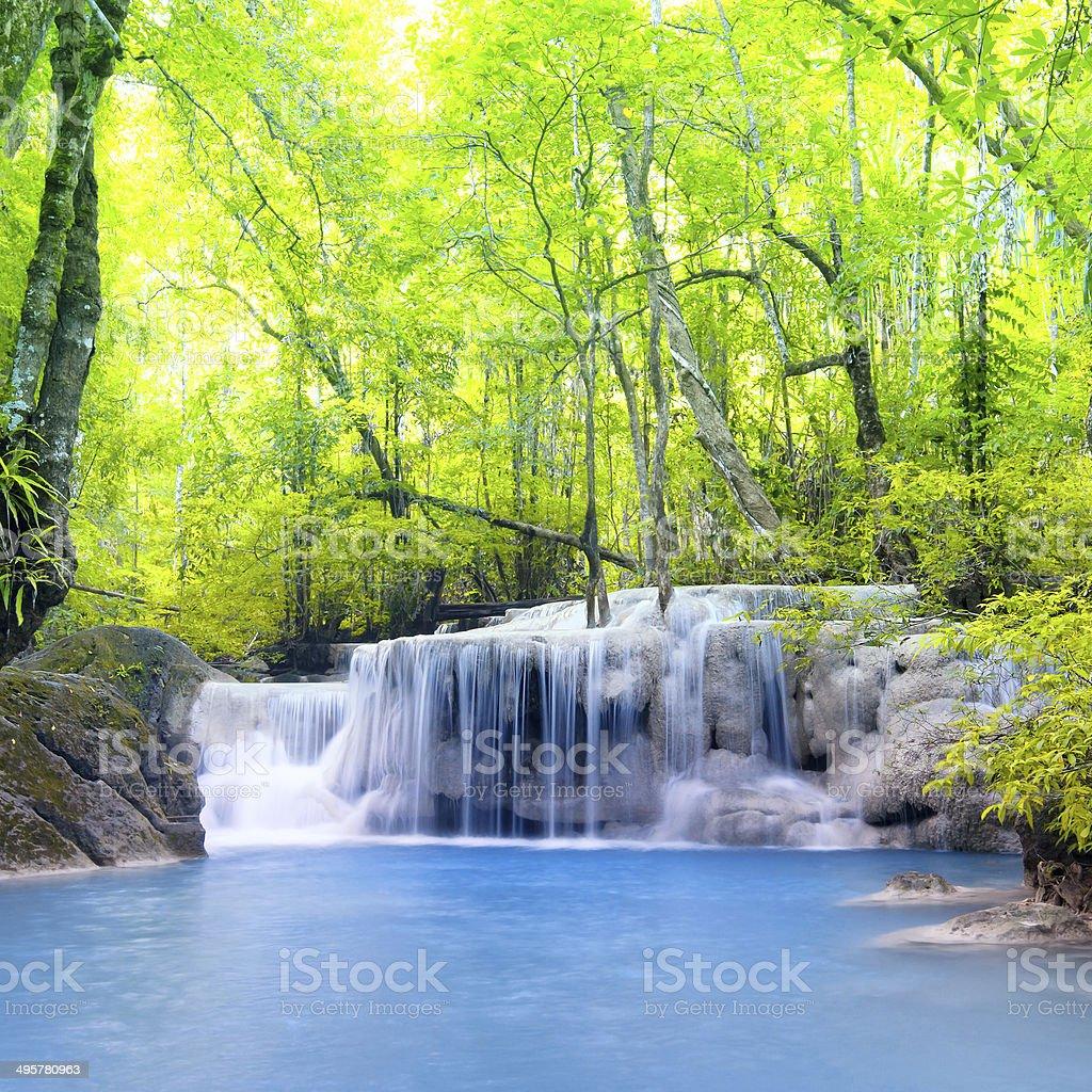 Erawan waterfall in Thailand. Beautiful nature background stock photo