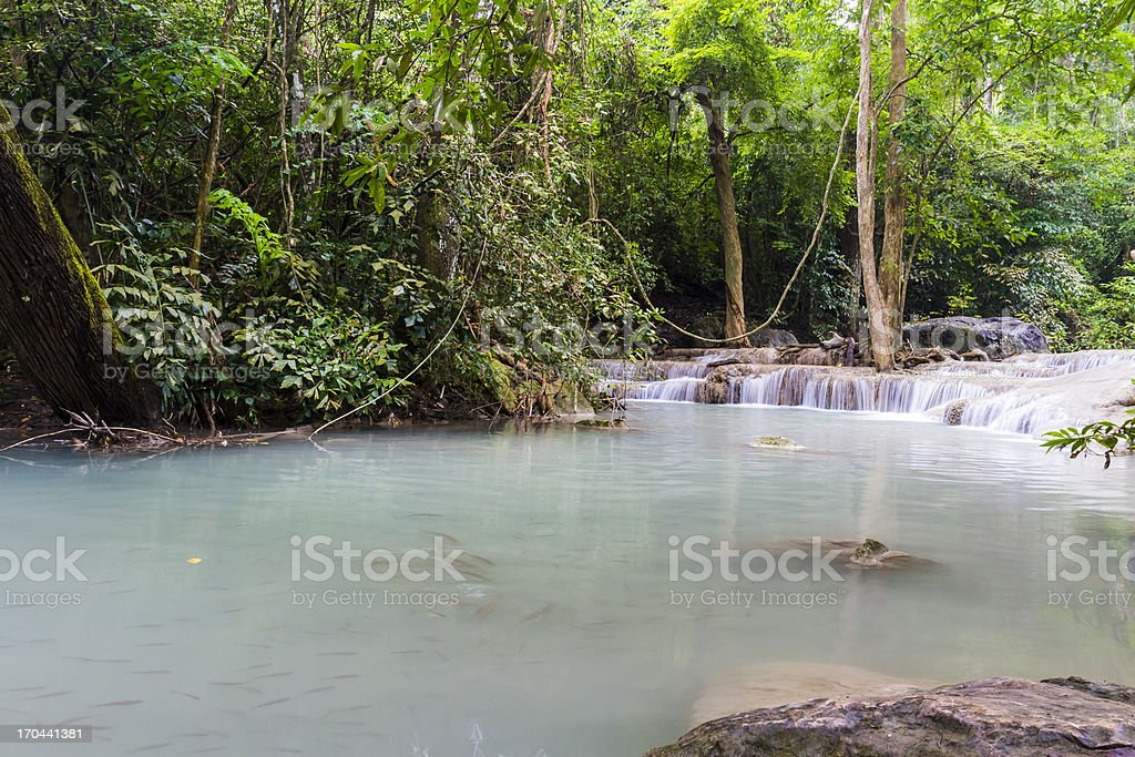 Erawan waterfall in Thailand royalty-free stock photo