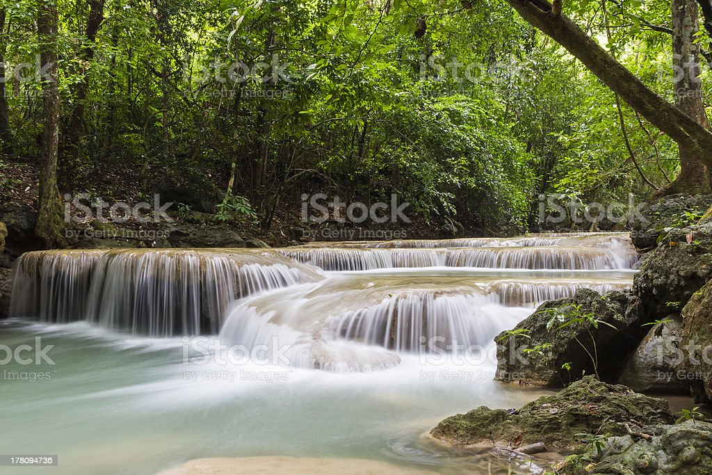 Erawan waterfall in Thailand royalty-free stock photo