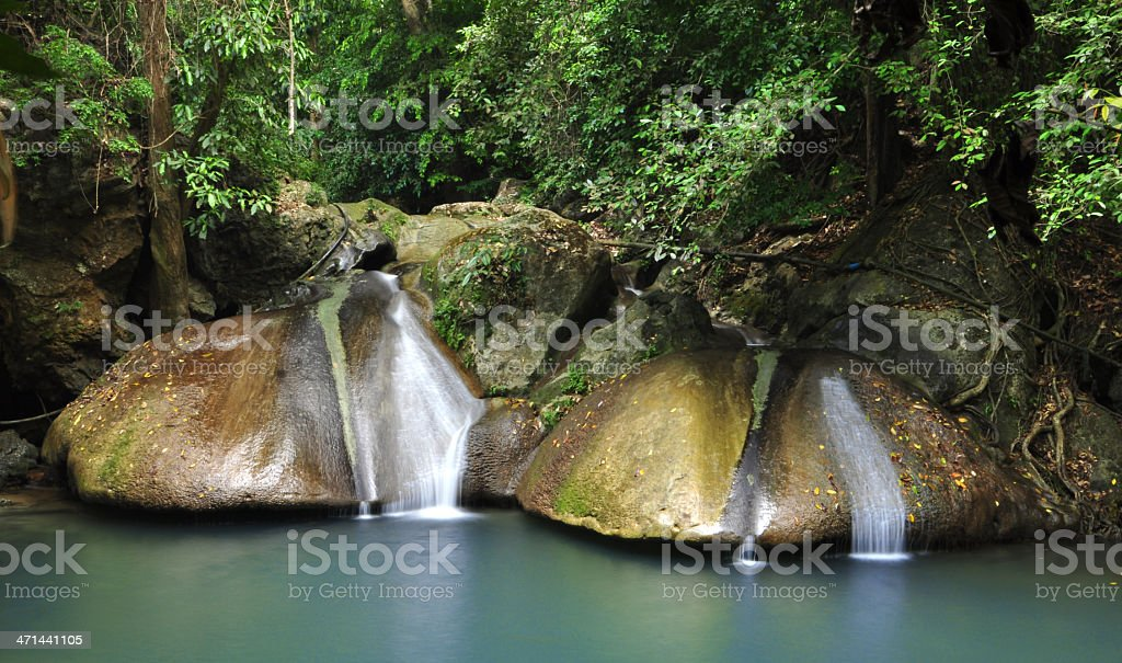 Erawan Waterfall in Thailand stock photo