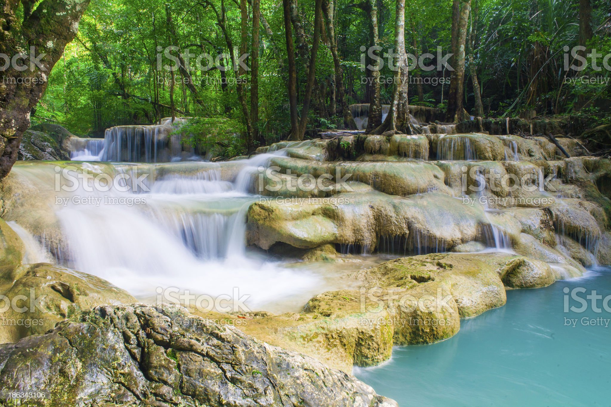 Erawan Waterfall, Kanchanaburi, Thailand royalty-free stock photo