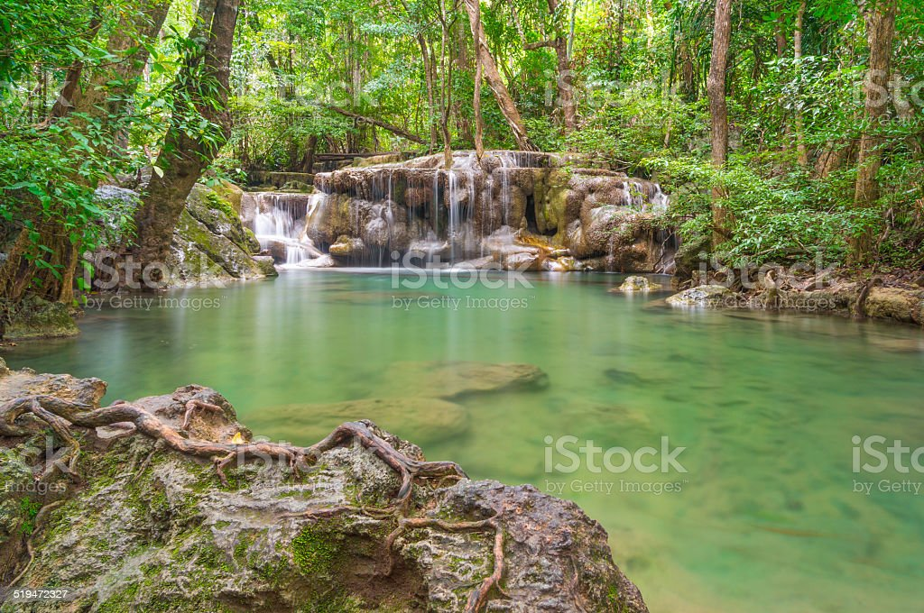 Erawan waterfall, Kanchanaburi travel Thailand stock photo