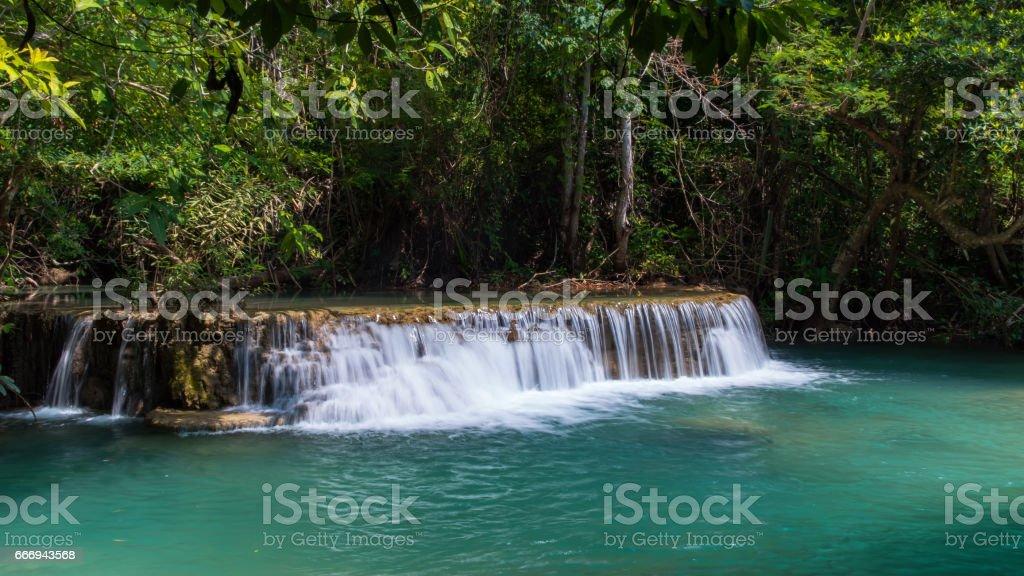 Erawan waterfall located Khanchanaburi Province stock photo