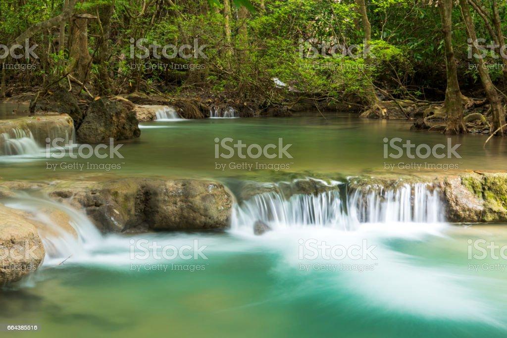 Erawan waterfall located Khanchanaburi Province, Thailand stock photo
