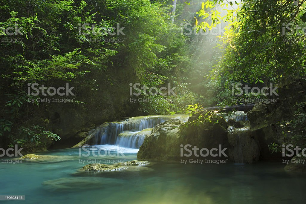 Erawan waterfall stock photo