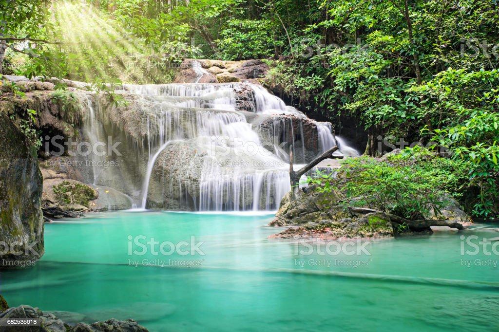 Erawan waterfall, Thailand stock photo
