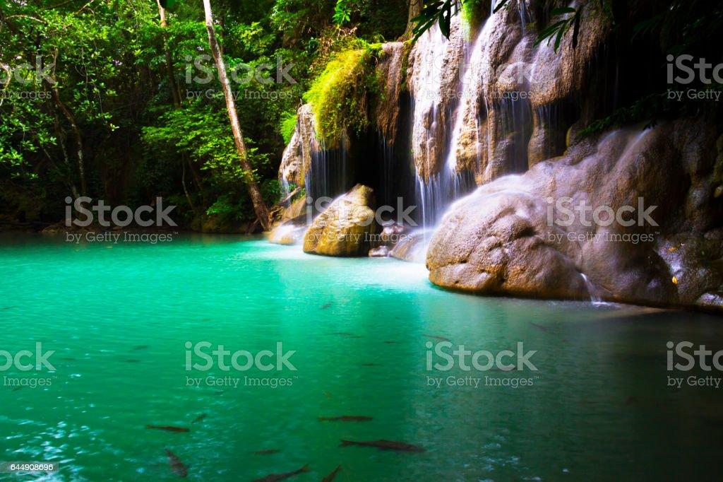 Erawan Waterfall water emerald stock photo