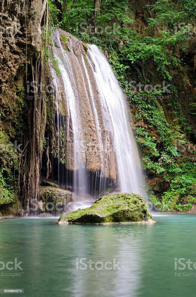 Erawan Waterfalls (Thailand) fairy atmosphere in the Erawan National Park stock photo
