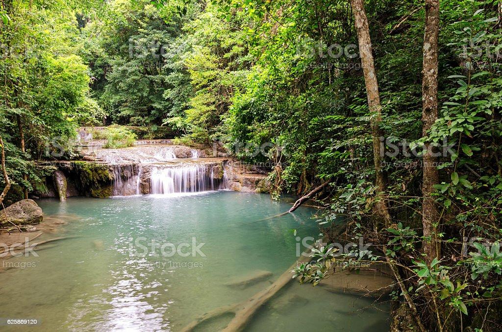 Erawan Waterfalls (Thailand) fairy atmosphere in the Erawan National Park stock photo