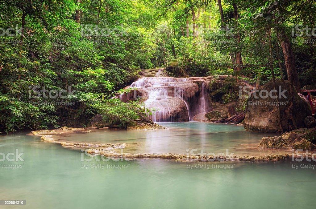 Erawan Waterfalls (Thailand) fairy atmosphere stock photo