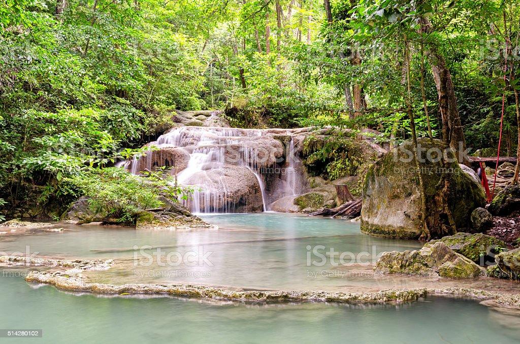 Erawan Waterfalls in Erawan National Park (Thailand) stock photo
