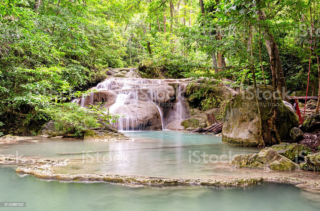 Erawan Waterfalls in Erawan National Park (Thailand) stock photo