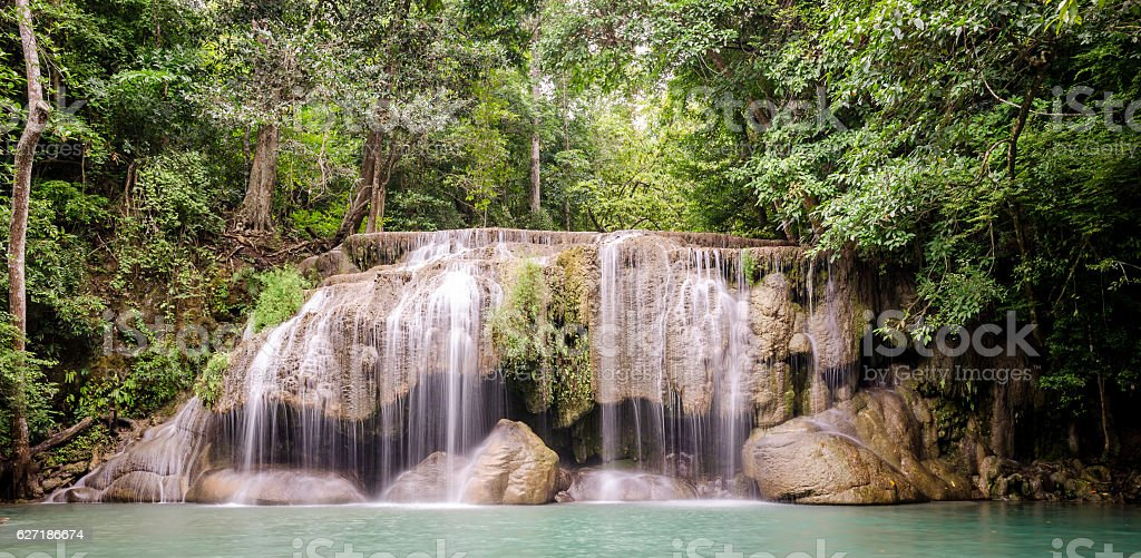 Erawan Waterfalls (Thailand) in Erawan National Park stock photo