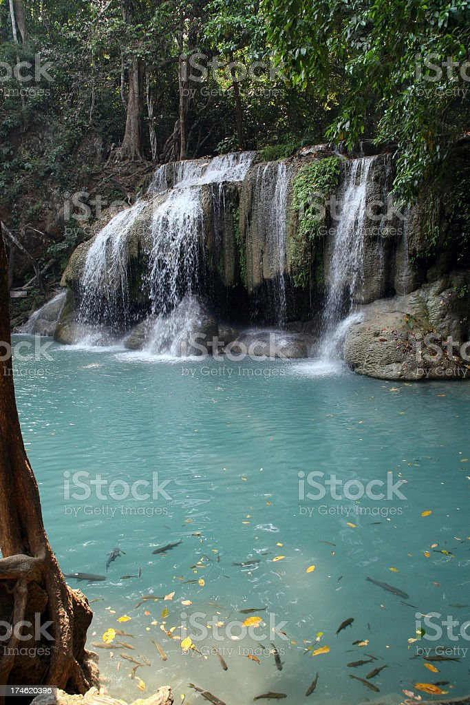 Erawan Waterfalls, Kanchanaburi area, Thailand royalty-free stock photo