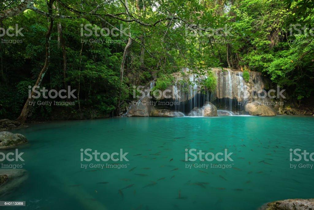 Erawan's waterfall, Located Kanchanaburi Province, Thailand stock photo