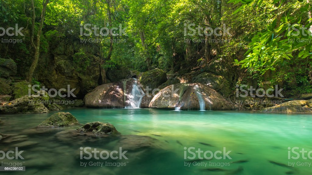 Erawan's waterfall stock photo