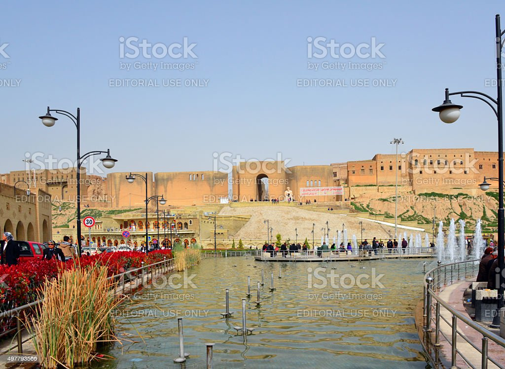 Erbil, Kurdistan, Iraq: main square and citadel stock photo