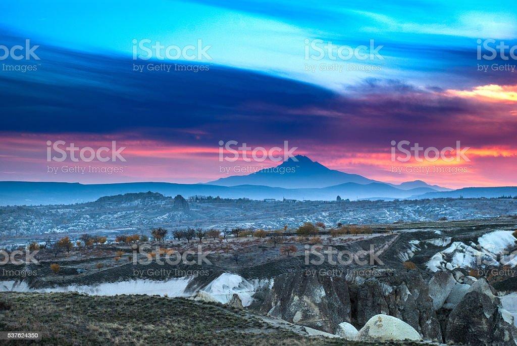 Erciyes Mountain from Cappadocia stock photo