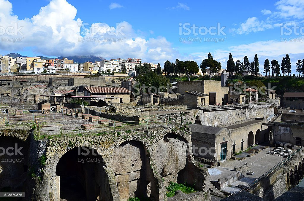 Ercolano excavation city landscape with blue sky italy stock photo