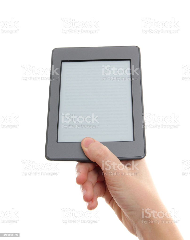 E-reader and hand stock photo