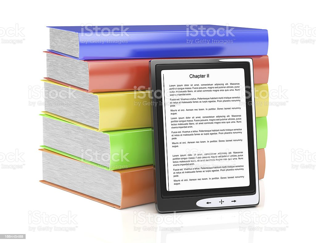 e-reader and stack of books royalty-free stock photo