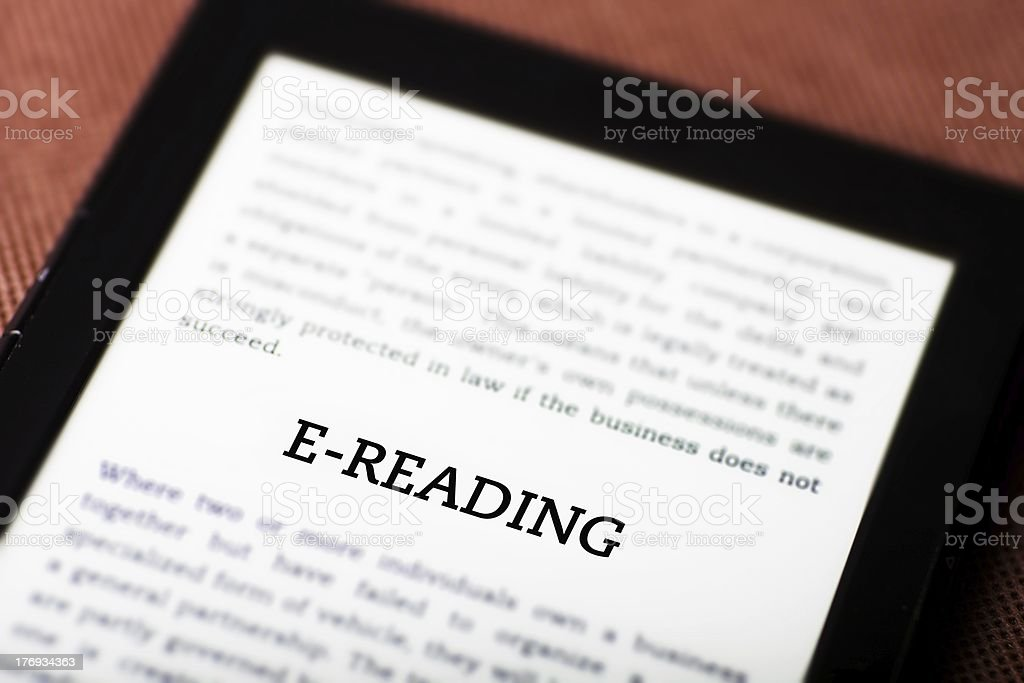 E-reading concept on tablet ebook royalty-free stock photo