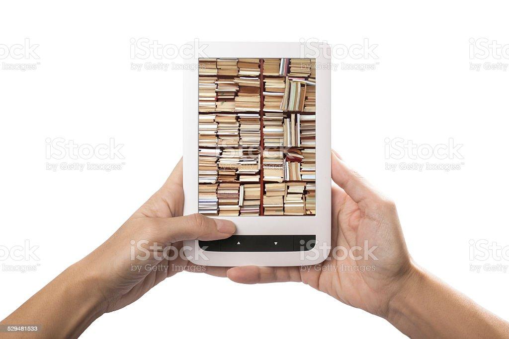 e-reading on tablet stock photo
