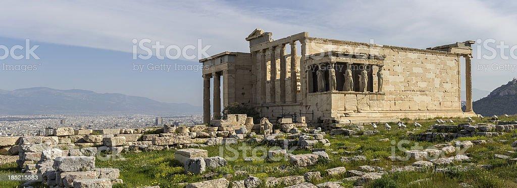 Erechteum Caryatids in Acropolis of Athens stock photo